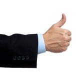 La main d'homme d'affaires avec pouces vers le haut Image libre de droits
