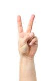 La main d'homme se connectent le fond blanc deux doigts augmentés vers le haut de soulever  Photographie stock libre de droits
