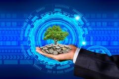 La main d'un homme d'affaires avec des pièces de monnaie sur ses mains et arbre placés sur des pièces de monnaie image libre de droits