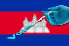 La main dans un gant bleu tenant la seringue injectent le texte vaccinique sur Camb Photo libre de droits