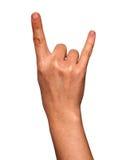 La main de femme a formé dans un signe de chèvre d'isolement sur le fond blanc Images stock