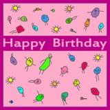 La main de joyeux anniversaire noient la carte de griffonnage Image libre de droits