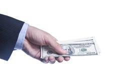 La main de l'homme avec un paquet de dollars Image stock