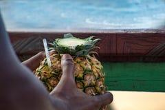 La main de l'homme dominicain tenant un cocktail de colada de pina a servi dans l'ananas, dans une plage tropicale en République  photographie stock libre de droits