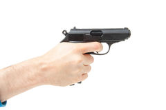 La main de l'homme tenant l'arme à feu, d'isolement sur le blanc Images libres de droits