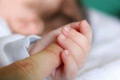 La main de la chéri nouveau-née Photos stock