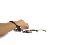 La main de la femme dans des menottes Photographie stock libre de droits