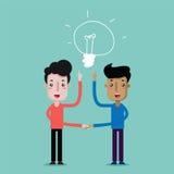 La main de prise d'homme collabore pour le succès Idée de lampe Image stock