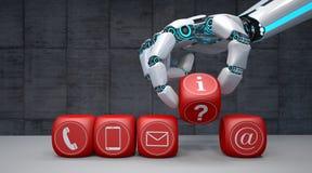 La main de robot cube des icônes de contact illustration stock