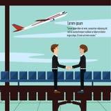 La main de secousse d'homme d'affaires saluent l'aéroport d'associés avec l'avion et le texte Image stock