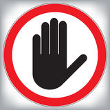 La main de vecteur arrêtent le signe d'interdiction Photo libre de droits