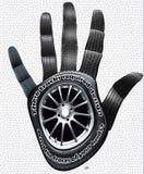La main des voies avec la texture de pneus Images libres de droits