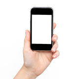 La main du femme retenant le téléphone Photos stock