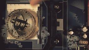 La main du ` s d'homme met les bitcoins dans une colonne Main comptant des bitcoins sur la carte mère Crypto or Bitcoin de devise banque de vidéos
