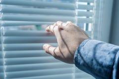 La main du ` s d'homme ouvre les aveugles ou la jalousie dans le jour ensoleillé Image stock