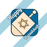 La main a esquissé le logotype heureux de Hanoucca illustration stock