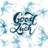 La main a esquissé la typographie de lettrage de T-shirt de bonne chance Citation inspirée tirée, citation de motivation illustration de vecteur