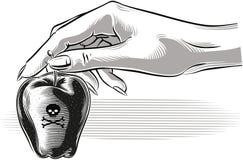 La main femelle donne une pomme empoisonnée par rouge illustration de vecteur