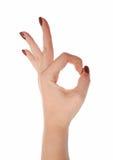 La main femelle montre le signe CORRECT Images stock