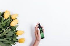 La main femelle tient une bouteille en plastique verte de l'eau près du TU jaune photos stock