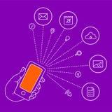 La main garde les icônes mobiles et réglées Images stock