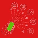 La main garde les icônes mobiles et réglées Photo stock