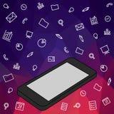La main garde les icônes mobiles et réglées Image stock