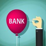 La main humaine éclate un ballon avec la banque de mot illustration de vecteur