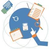 La main indique la table de bureau avec des accessoires illustration de vecteur