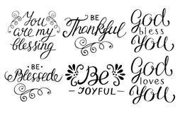 la main 6 marquant avec des lettres des citations soit reconnaissante, joyeux, béni, Dieu vous aime, vous sont ma bénédiction illustration libre de droits
