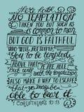La main marquant avec des lettres la tentation n'est rien mais Dieu humain et vrai illustration stock