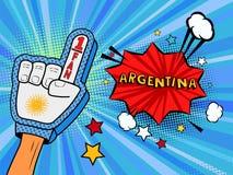 La main masculine dans le gant de drapeau de pays d'une fan de sports a soulevé célébrer la bulle de victoire et de parole de la  Photos stock