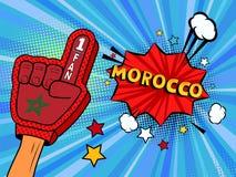 La main masculine dans le gant de drapeau de pays d'une fan de sports a soulevé célébrer la bulle de victoire et de parole du Mar Photographie stock libre de droits