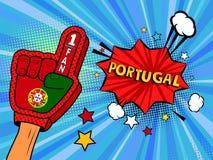 La main masculine dans le gant de drapeau de pays d'une fan de sports a soulevé célébrer la bulle de victoire et de parole du Por Photos stock