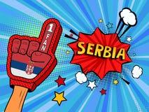 La main masculine dans le gant de drapeau de pays d'une fan de sports a soulevé célébrer la bulle de victoire et de parole de la  Images stock
