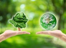 la main masculine tenant la planète et le mâle remettent tenir l'arbre de papier de forme Photo libre de droits