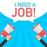 La main masculine tenant le mégaphone avec moi ai besoin d'un travail ! bulle de la parole Bannière pour des affaires Illustratio illustration libre de droits
