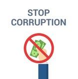 La main met le paiement illicite - illustration dans le style plat Arrêtez le concept de corruption Photographie stock libre de droits