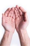 La main parlent en faveur la charité Images libres de droits