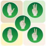 La main pose dans les icônes rondes comptant d'un à cinq Photographie stock