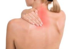 la main retient le femme de douleur cervicale Image libre de droits