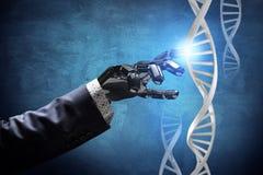 La main robotique métallique touche la chaîne d'ADN rendu 3d Photo stock