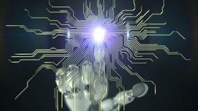 La main robotique presse sur l'écran et fait le plan électronique belle animation 3d 4K clips vidéos