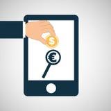 La main sauvent l'euro icône de recherche d'argent Image stock