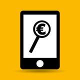 La main sauvent l'euro icône de recherche d'argent Images stock