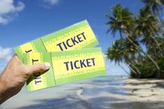 La main tenant le Brésil étiquette la plage de Nordeste de palmiers Photographie stock