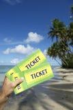 La main tenant le Brésil étiquette la plage de Nordeste de palmiers Photos stock