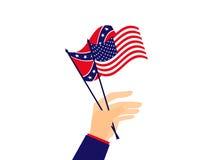 La main tient le drapeau des Etats-Unis d'Amérique et des confédérés Vecteur illustration de vecteur