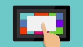 La main touche le comprimé Animation plate Application de Windows Mobile FullHD banque de vidéos