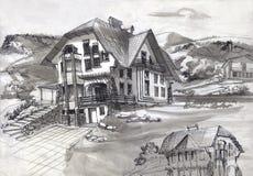 La maison a été construite dans les montagnes illustration stock